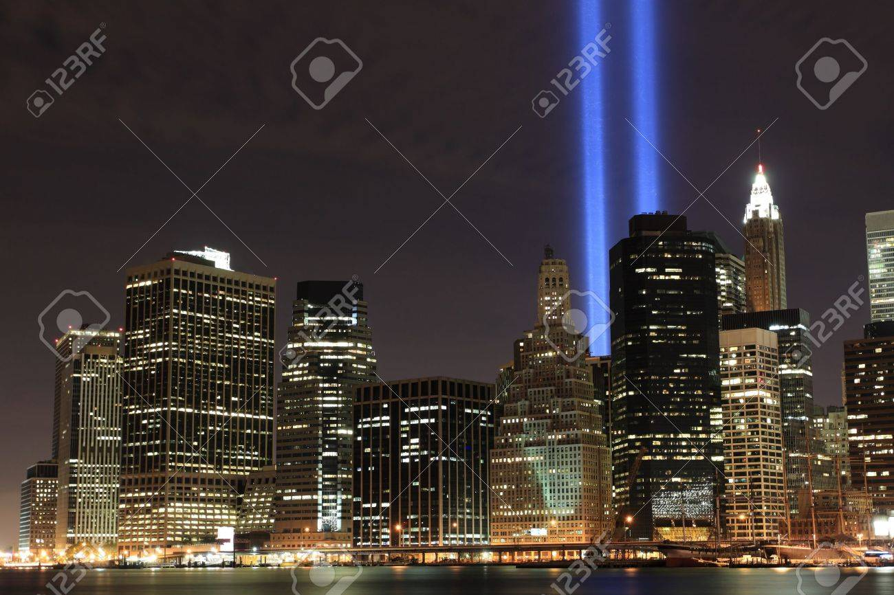 Lowers Manhattan Skyline and the Towers Of Lights at Night Stock Photo - 9256711