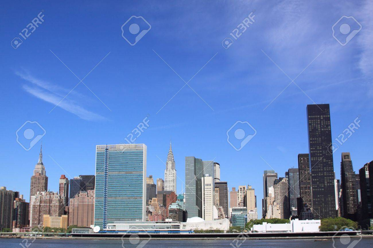 Manhattan Skyline and Skyscrapers on a Clear Blue Sky from Brooklyn, New York City Stock Photo - 11673095