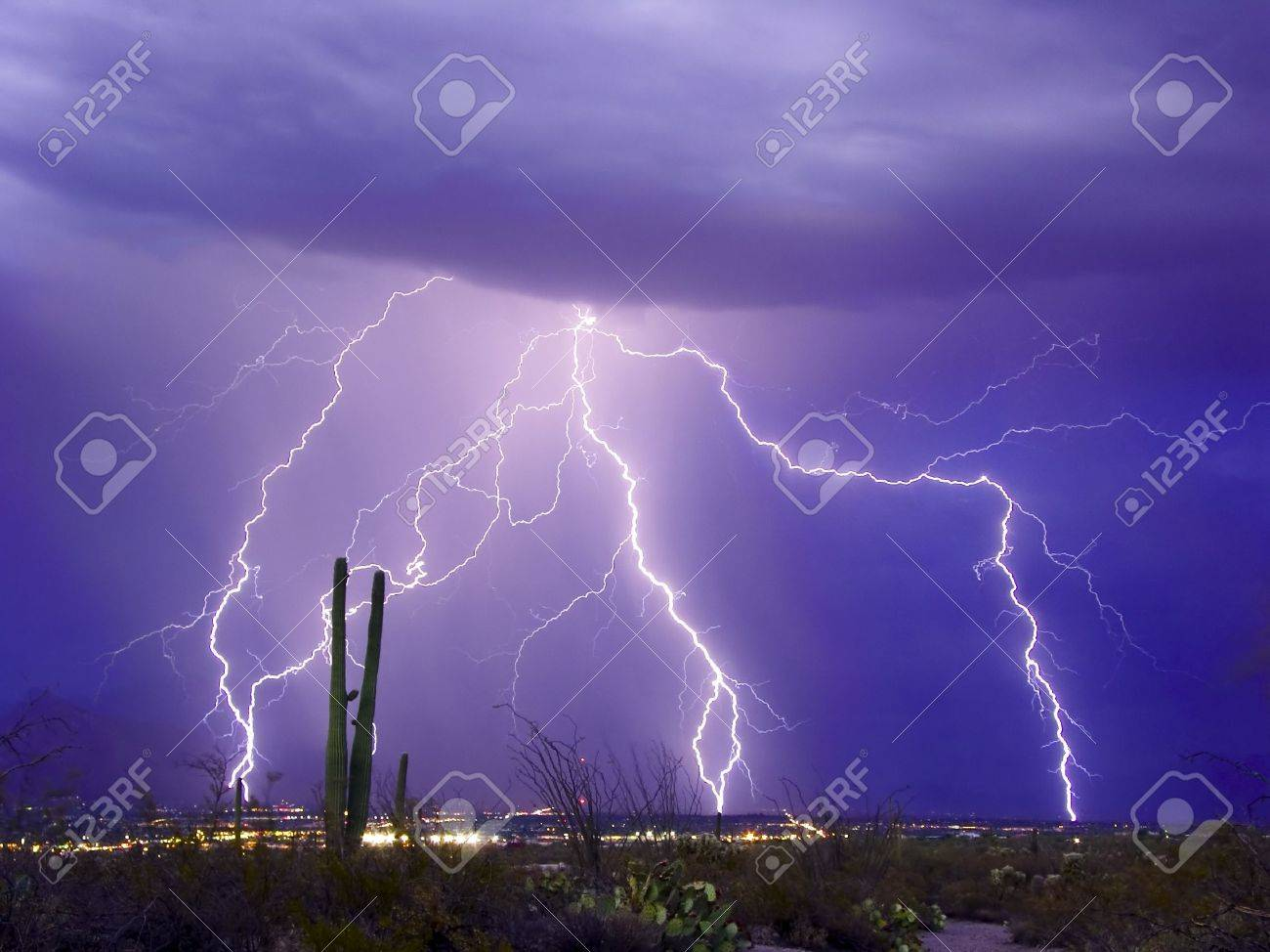 lightning display over tucson arizona stock photo picture and