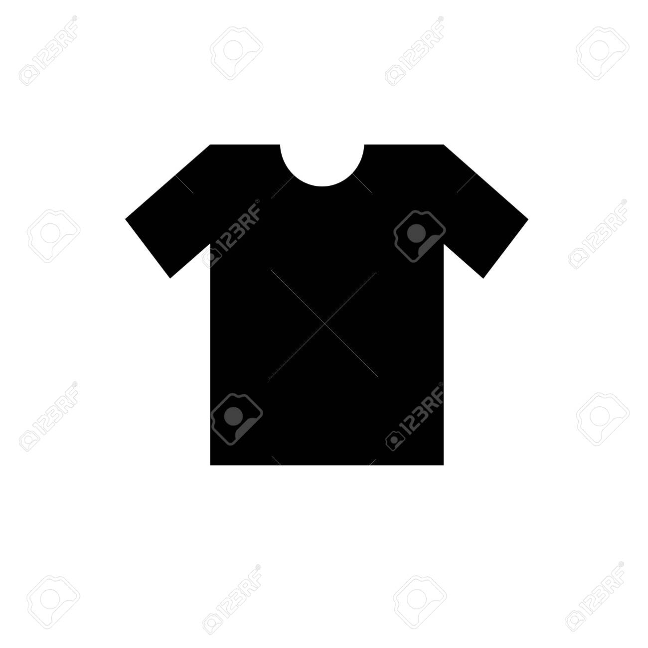 Blank black T-shirt template. Back t-shirt vector. T-shirt template set, back view design for male. Vector eps 10 illustration. Isolated clothing printing mock up of sportswear apparel. - 135348545