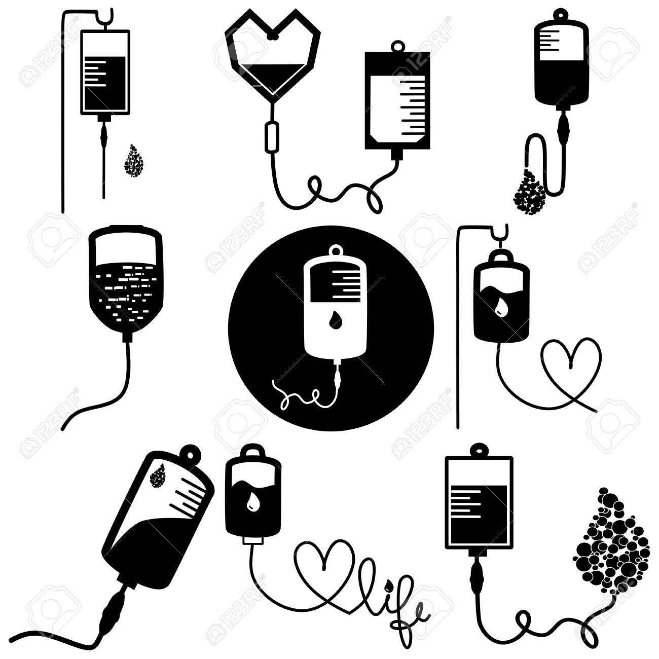 Infusion icon. Intravenous bag, blood, drip. Medical help concept. Vector illustration can be used for topics like hospital, therapy, chemotherapy. Iv, infuse, blood bag. Tube and blood collection. - 140711557