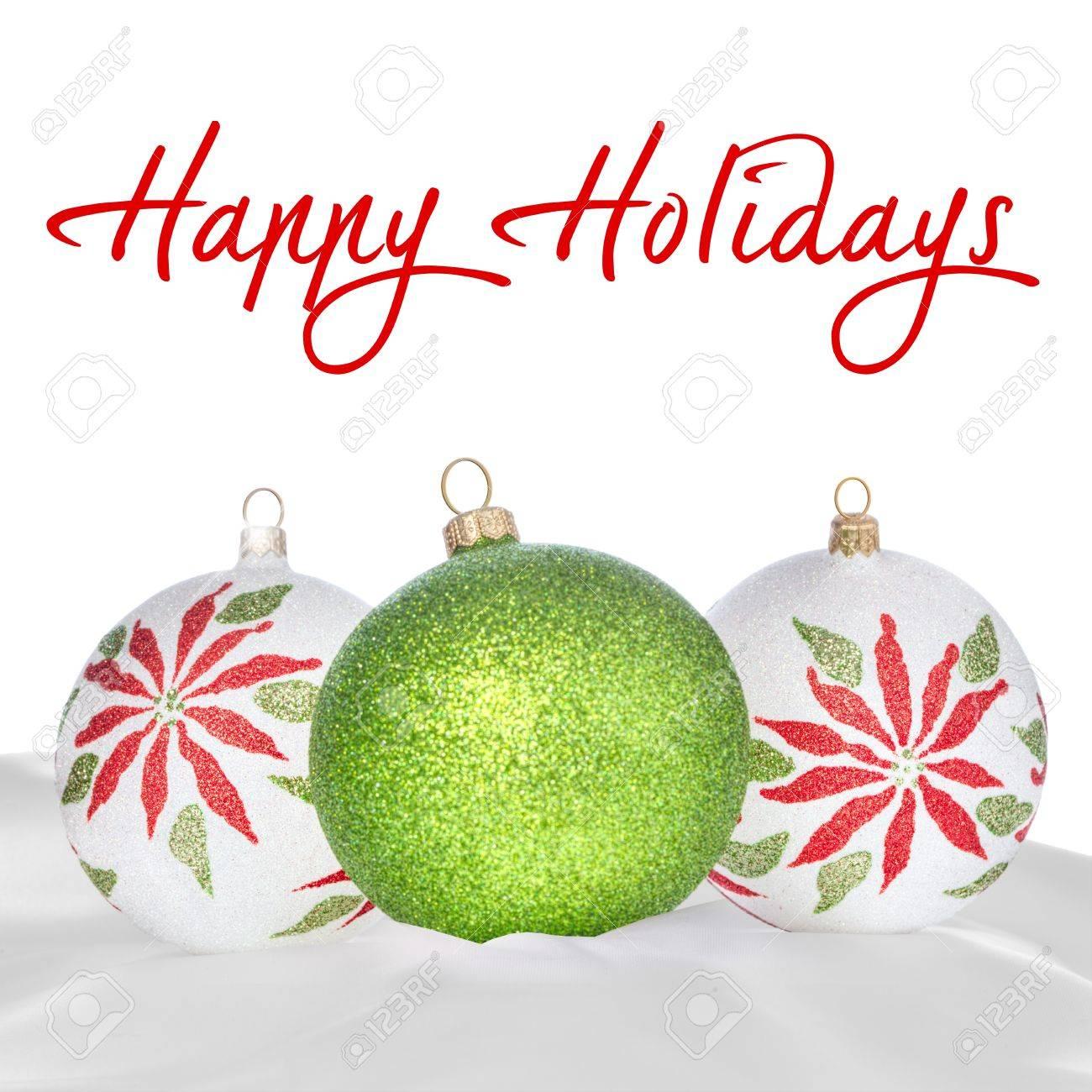 Weiß, Grün Und Rot Weihnachten Ornamente Auf Weißem Hintergrund ...