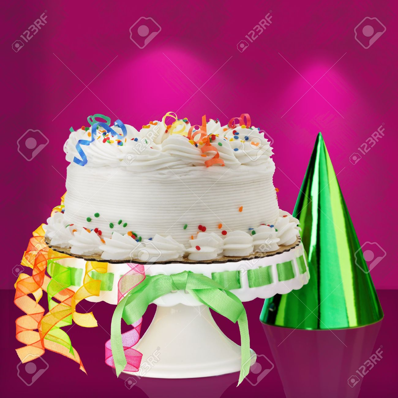 Delicious White Vanilla Birthday Cake With Red Blue Green Stock