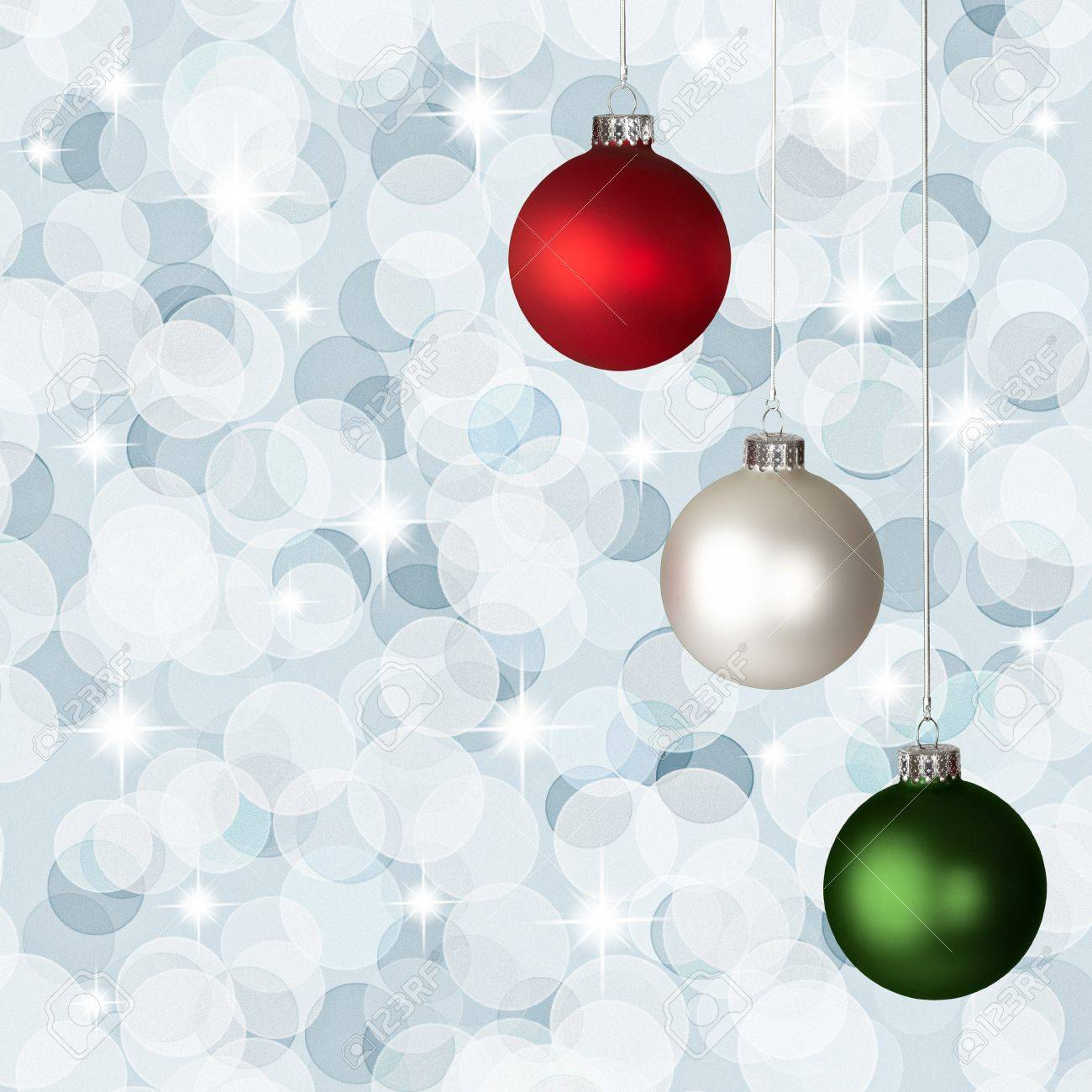 stock photo white red and green christmas ornaments on silver bokeh background