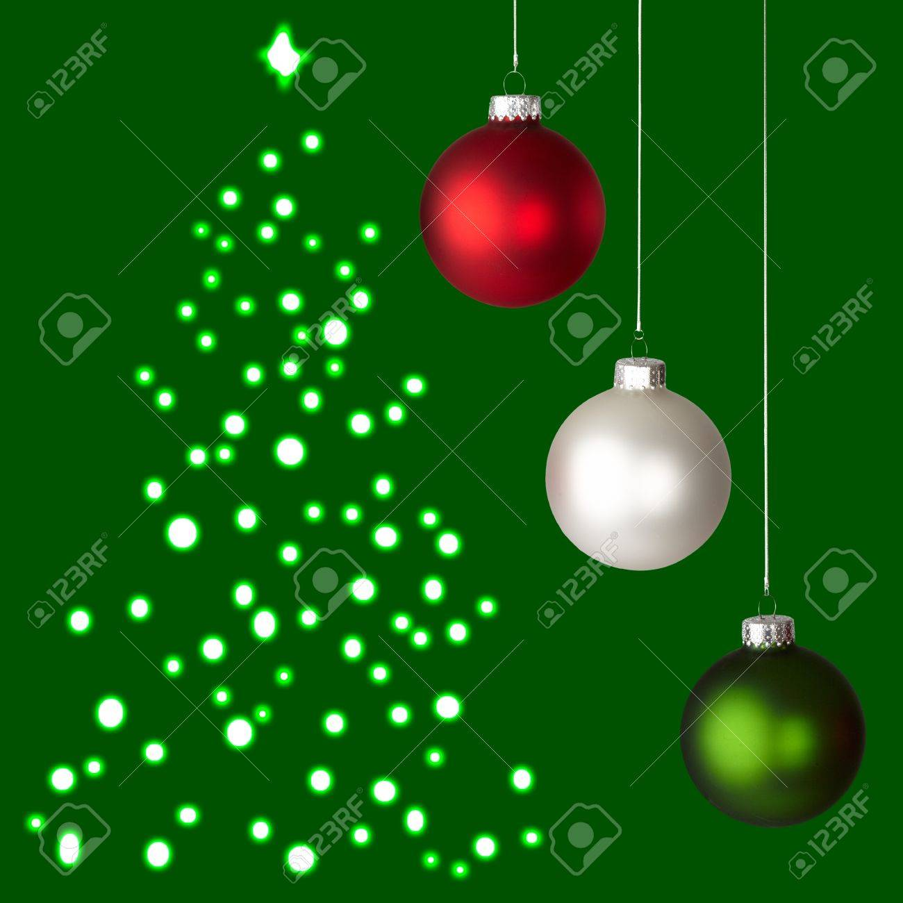 Christmas Ornaments Background.White Red And Green Christmas Ornaments On Green Christmas Tree