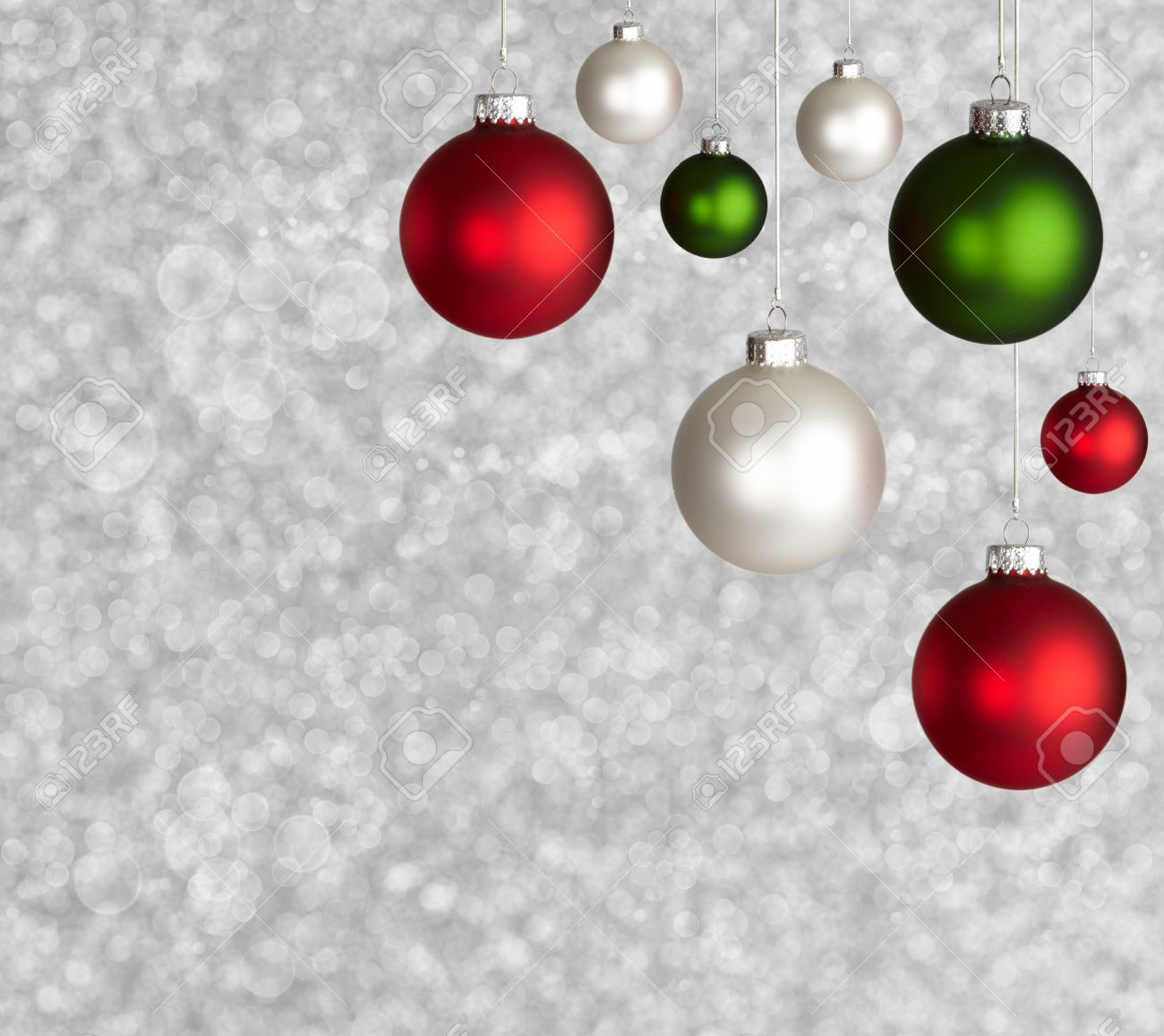Red green and white christmas ornaments - Stock Photo White Red And Green Christmas Ball Ornaments On Sparkely Silver Defocused Bokeh Background