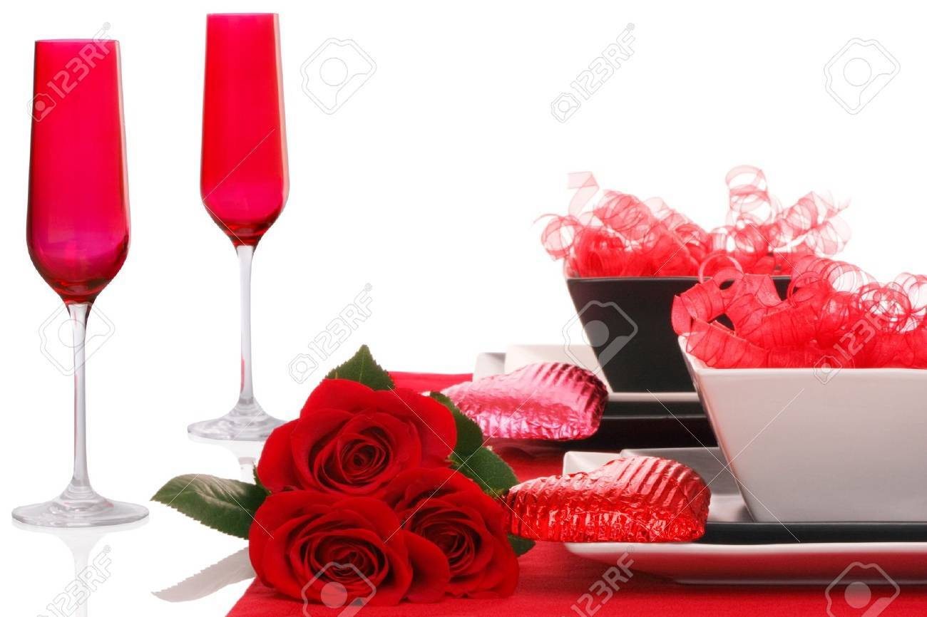 Isolated; Romantic Modern Black & White Table Setting ~ Red Champagne Flutes with Fresh Red Roses Stock Photo - 11550463