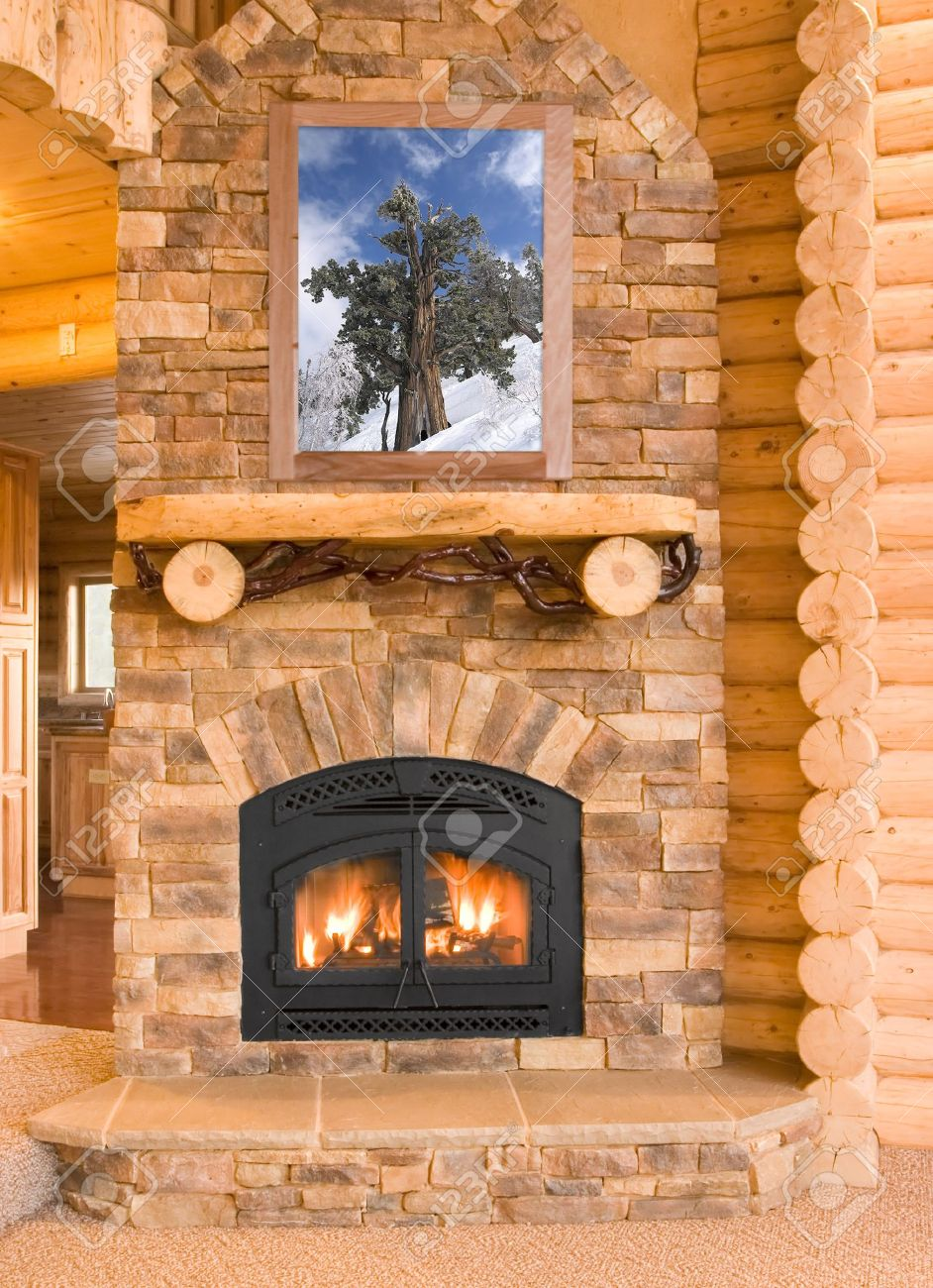 Log Cabin Home Interior With Warm Fireplace With Wood, Flames ... on log cabin fireplace screens, log cabin fireplace mantels, log cabin electric fireplaces, log cabin fireplace tools, log cabin rock fireplaces, log cabin fireplace designs,