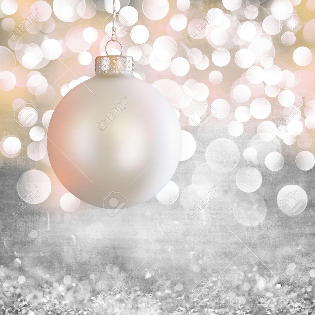 Vintage White Christmas Ball Ornament Over Elegant Grunge Grey ...