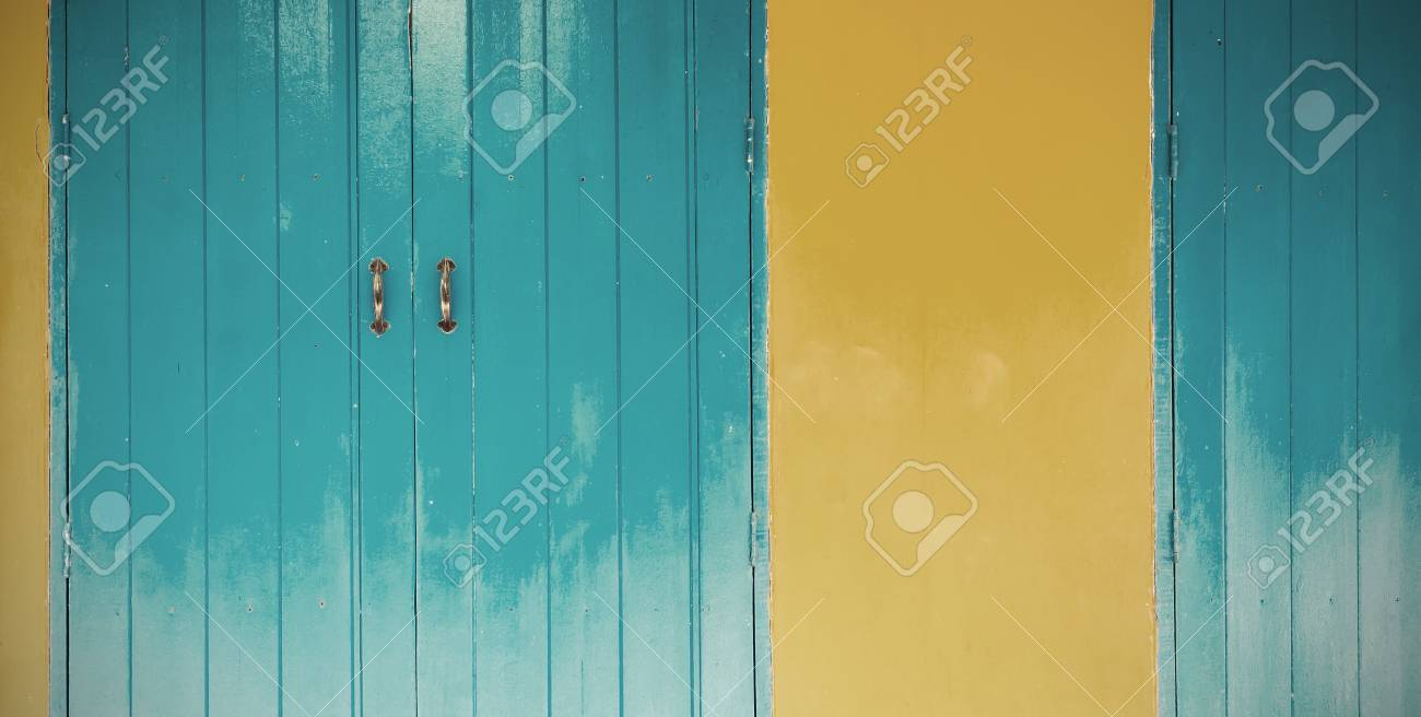 Close Up Blue Wood Door With Orange Wall - Vintage Tone Color ...
