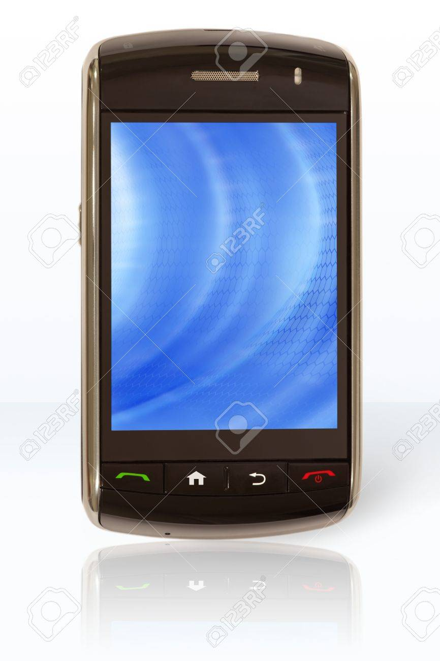 Mobile phone, with touch screen, that has been turned on Stock Photo - 16533806