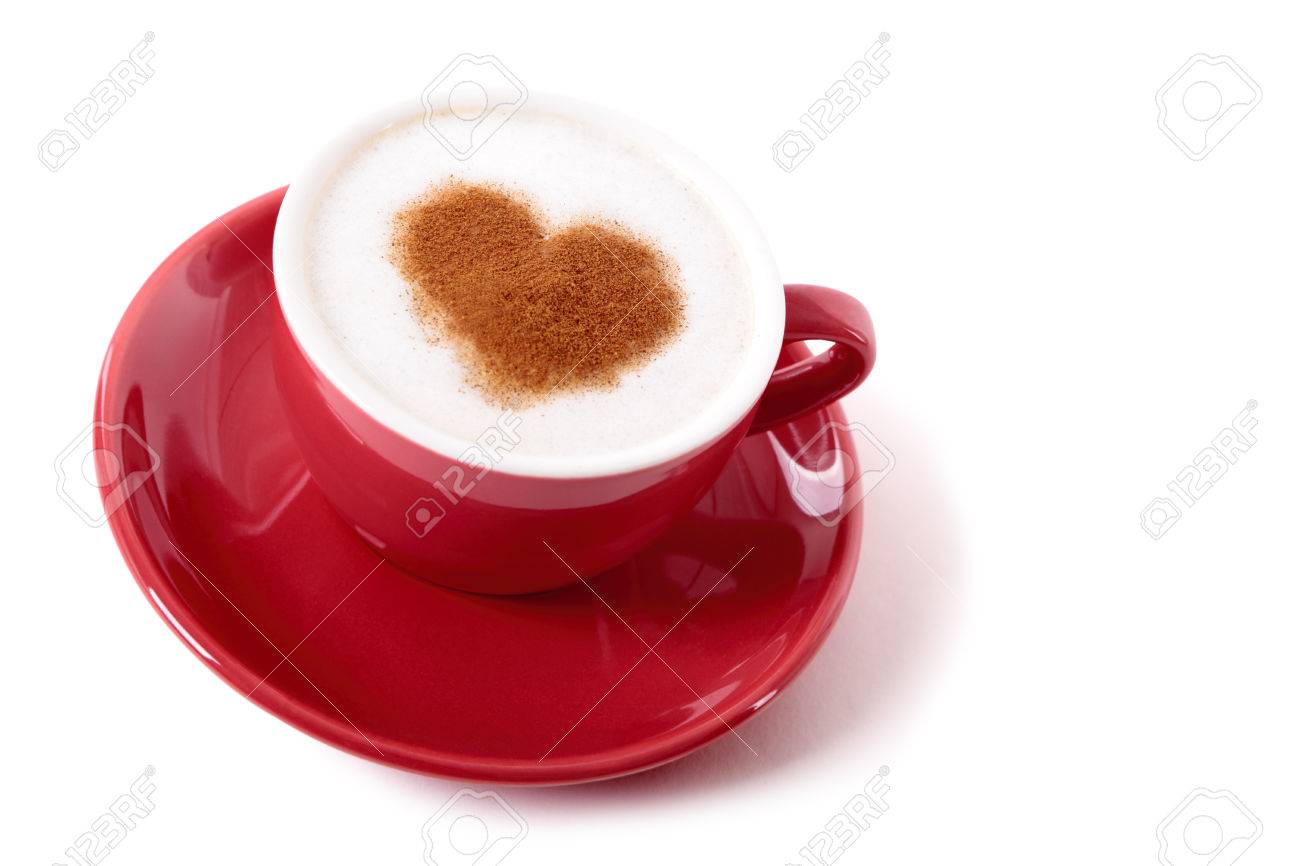 Valentine Coffee With Heart Shape Chocolate Dusting On Isolated White  Background Stock Photo   35862600