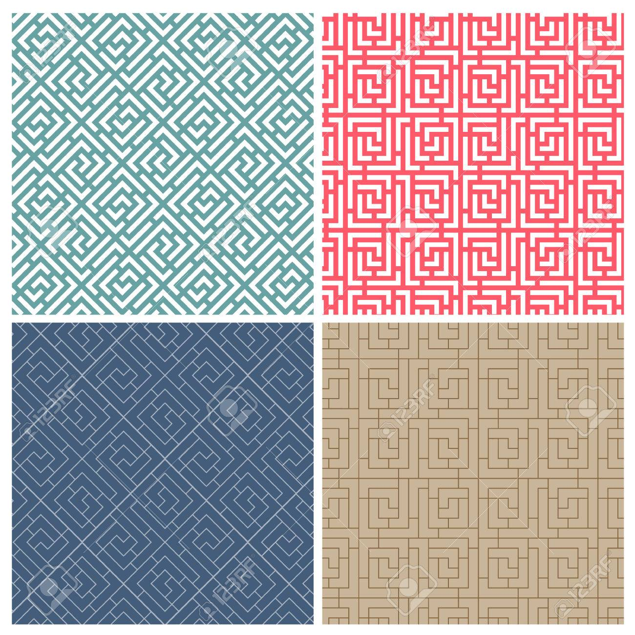 Set Of Four Illusion Maze Puzzle Tile Patterns Royalty Free Cliparts ...