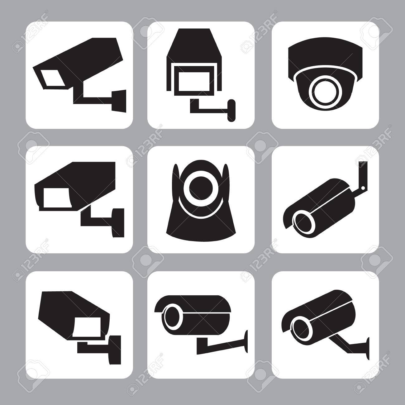 Collection of CCTV and security camera vector icon ,illustration - 39569540