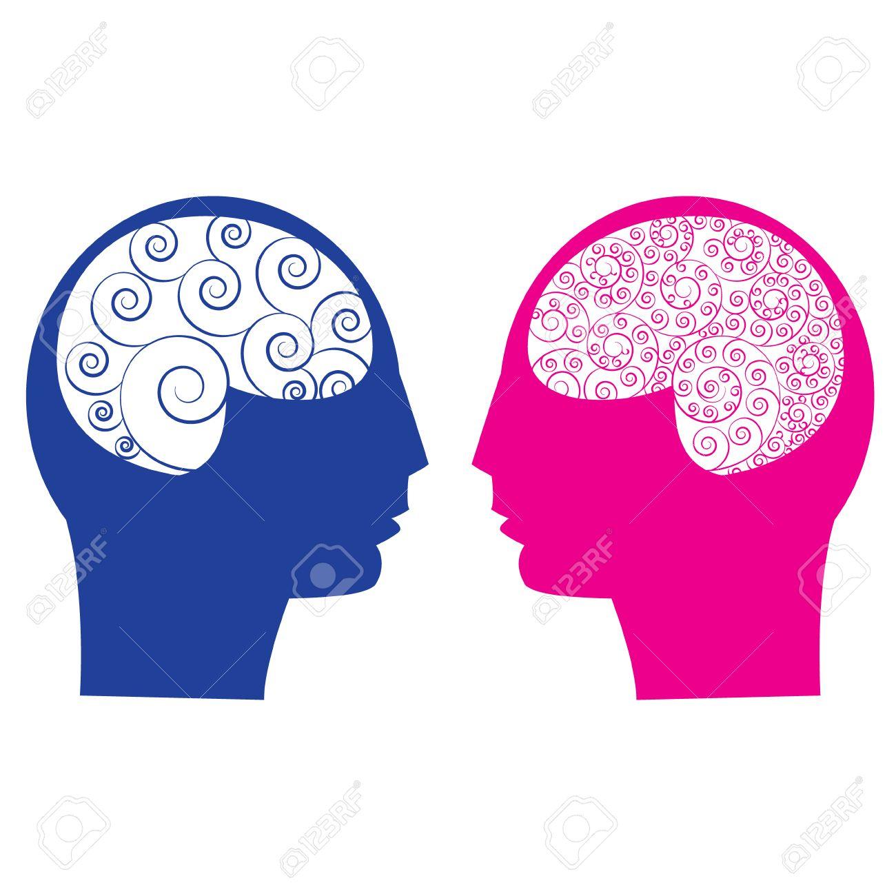 Abstract male vs female brain think idea ability. Spiral human brain - 39590116