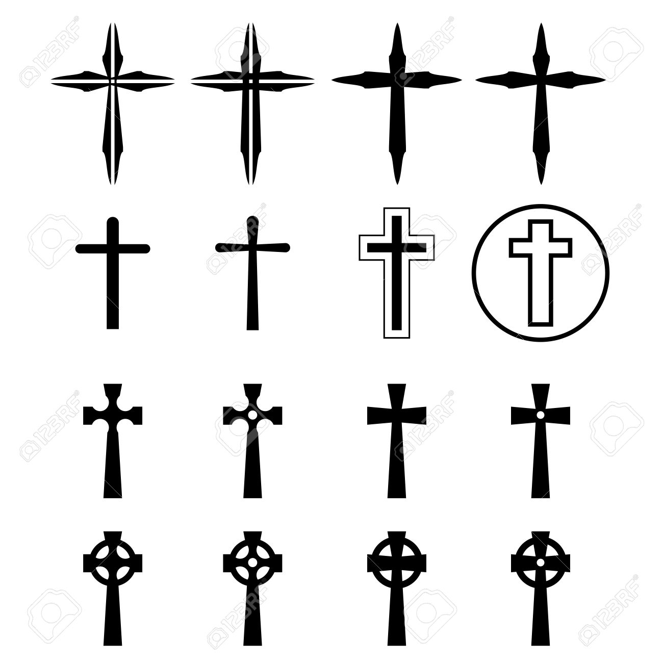 Set of crucifix and cross silhouette in modern style vector illustration stock vector