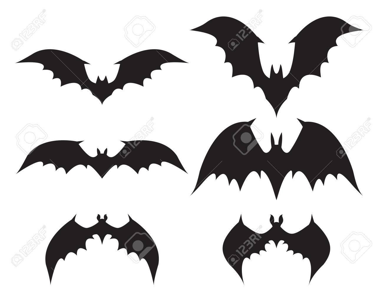 コウモリのシルエットに大きな翼ベクトルのイラスト素材ベクタ Image