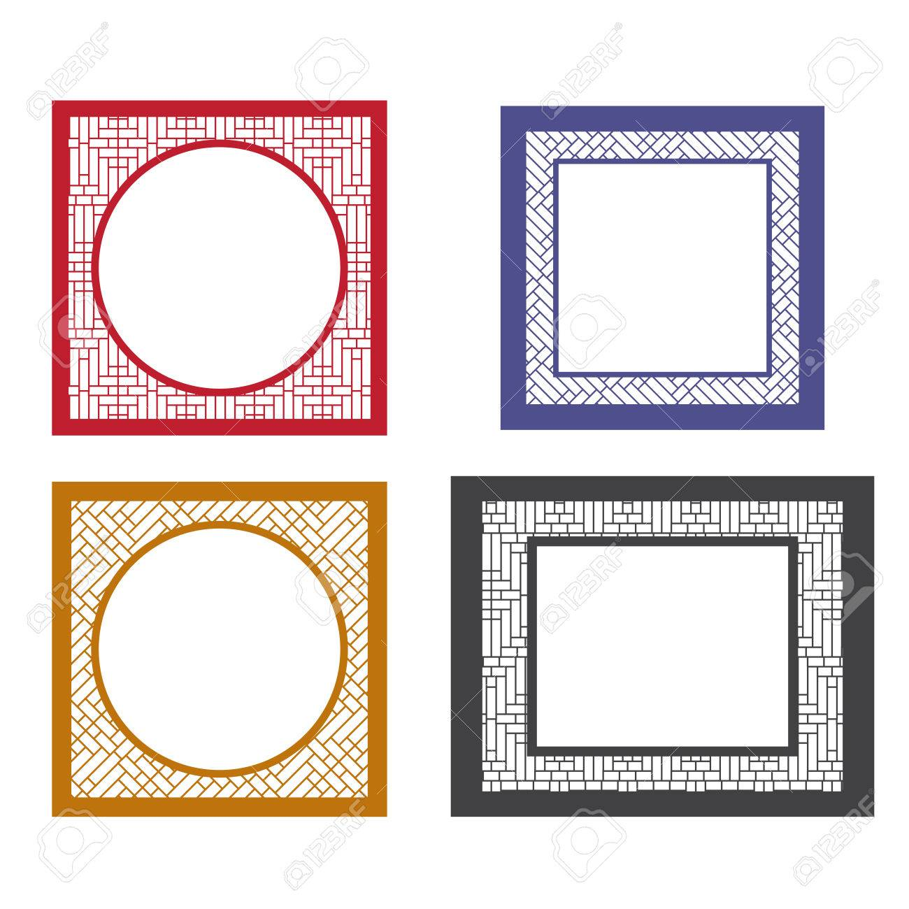 Set Of Blank Picture Frame Template With Asia Textured Boarder ...