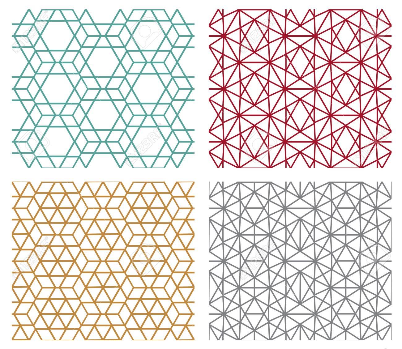 Conjunto De Patrones De Líneas Geométricas Sin Costura Modernas En ...