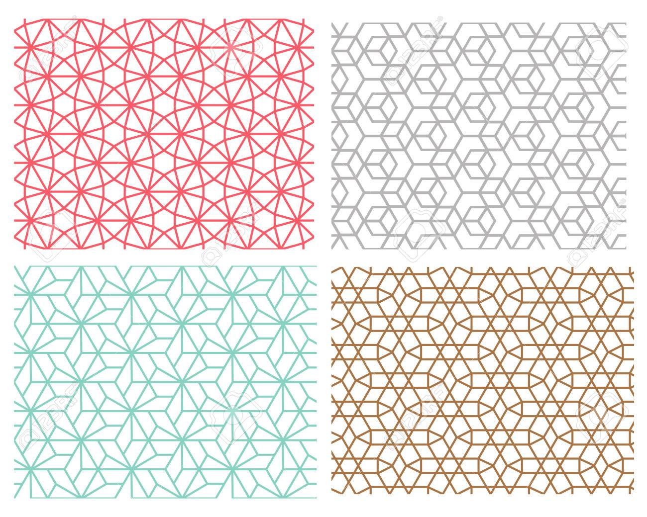 Conjunto De Patrón Geométrico Sin Fisuras En El Estilo De Malla De ...