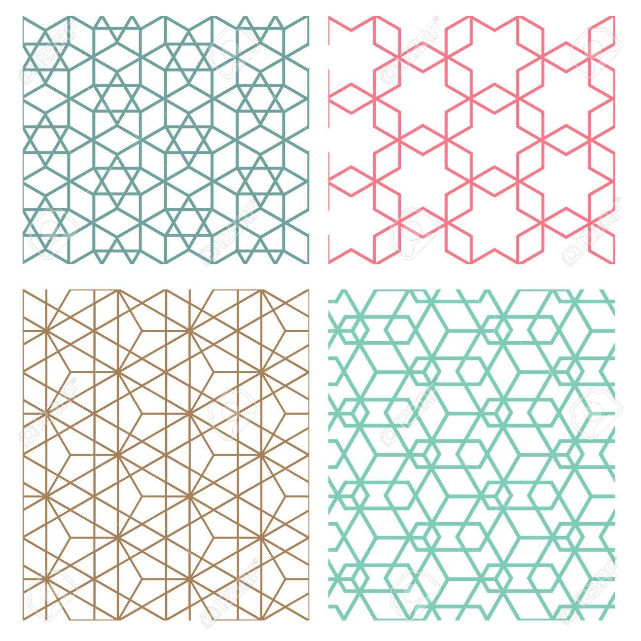 モダンな韓国風のメッシュ幾何学的シームレス パターンのセットの