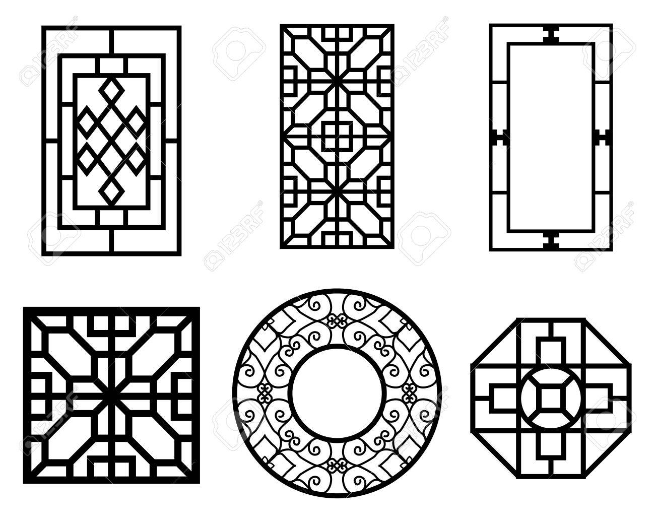 Set of Chinese window with pattern, vector ornament - 57654236