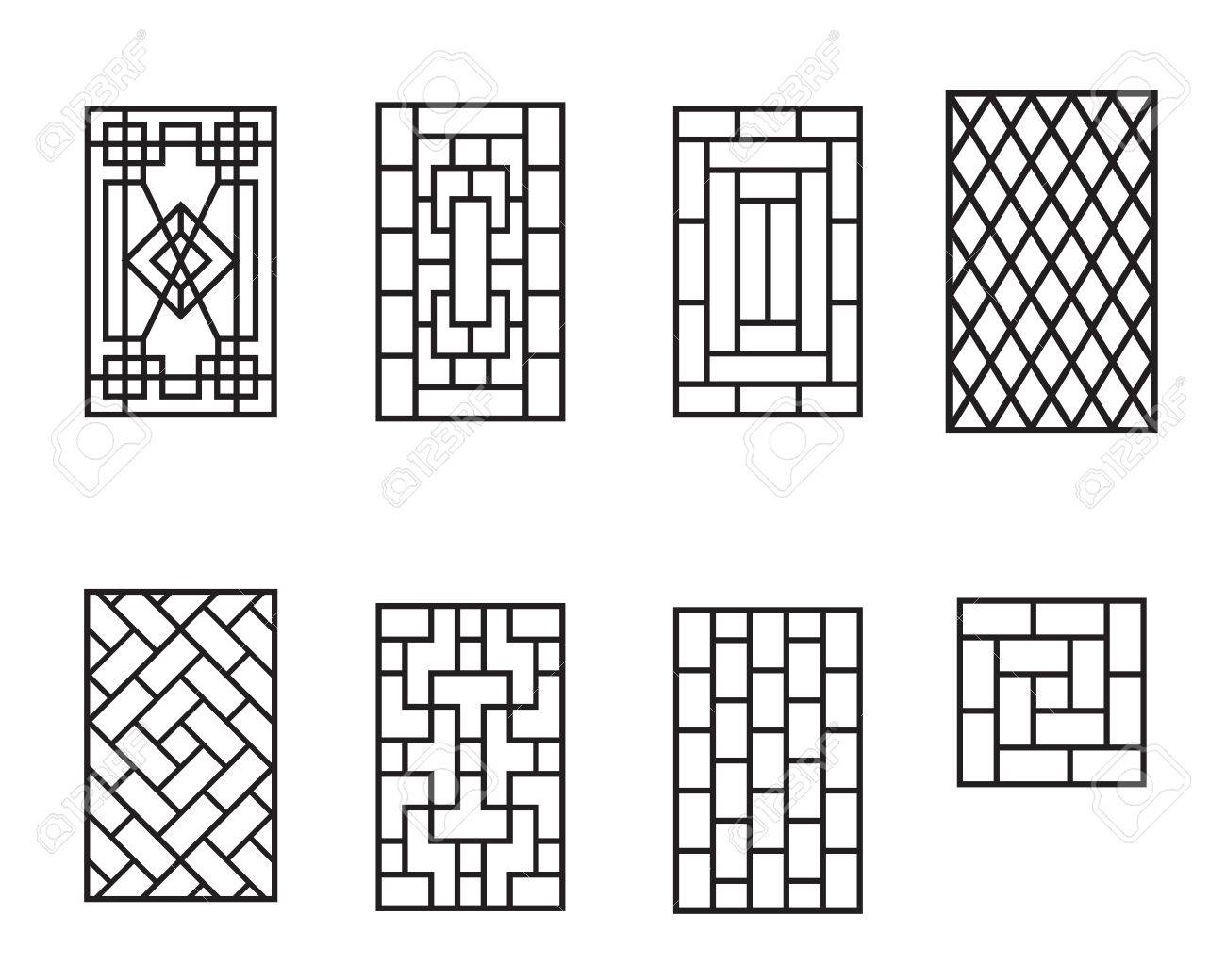 Set Of Chinese Pattern Window Frame, Vector Royalty Free Cliparts ...