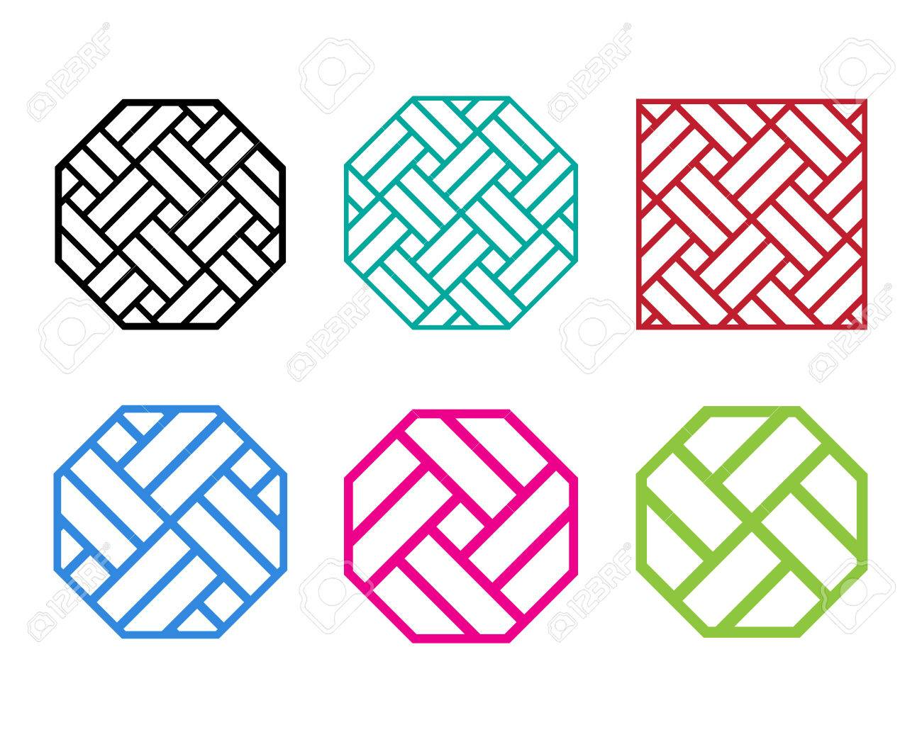 Set Of Octagon Chinese Pattern Window Frame, Vector Royalty Free ...