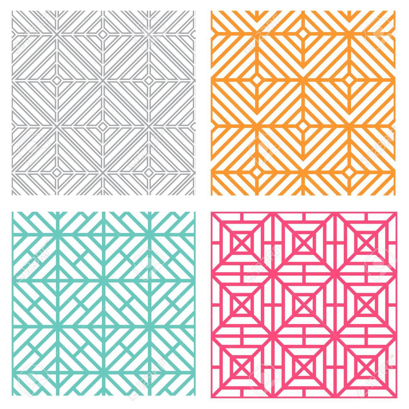 韓国風のシームレスな幾何学的な線パターンのイラスト素材ベクタ