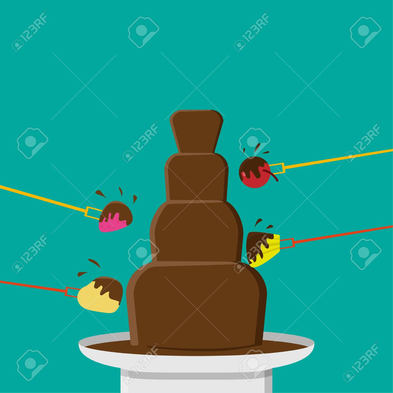 Chocolate Fondue Party In Flat Style, Vector Design Royalty Free ...