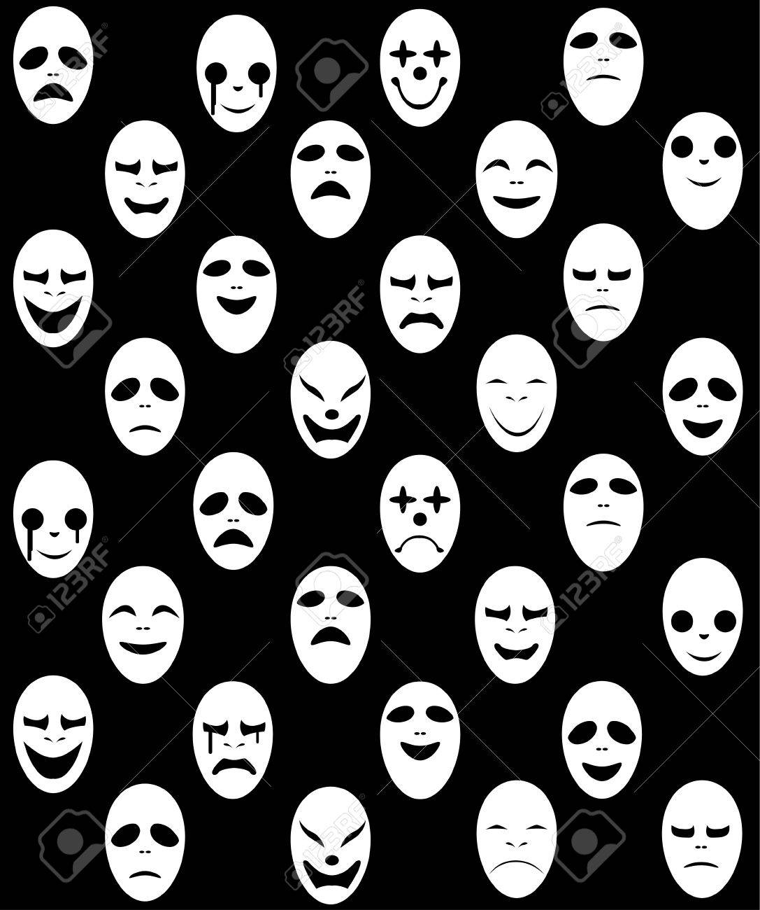 Seamless White Ghost Mask Pattern, Vector Design Royalty Free ...