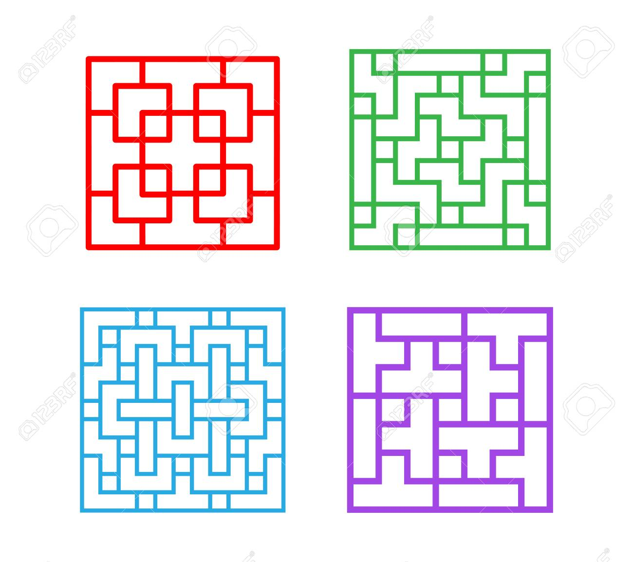 Set Of Square Chinese Pattern Window Frame, Vector Royalty Free ...