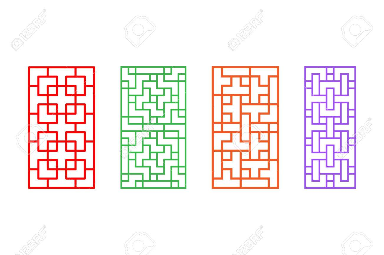 Set Of Rectangle Chinese Pattern Window Frame, Vector Royalty Free ...