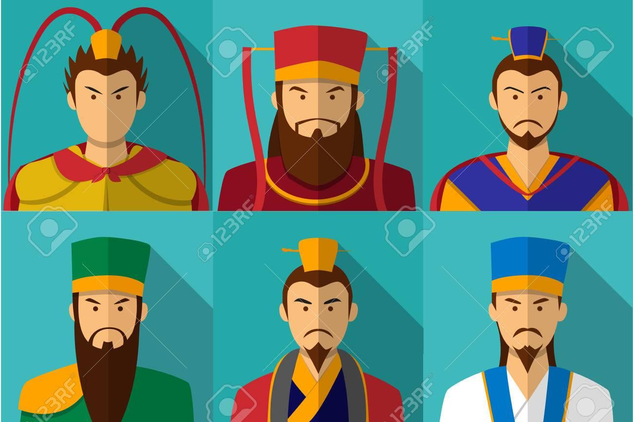 Set of Three kingdom character portrait in flat, vector - 85164852