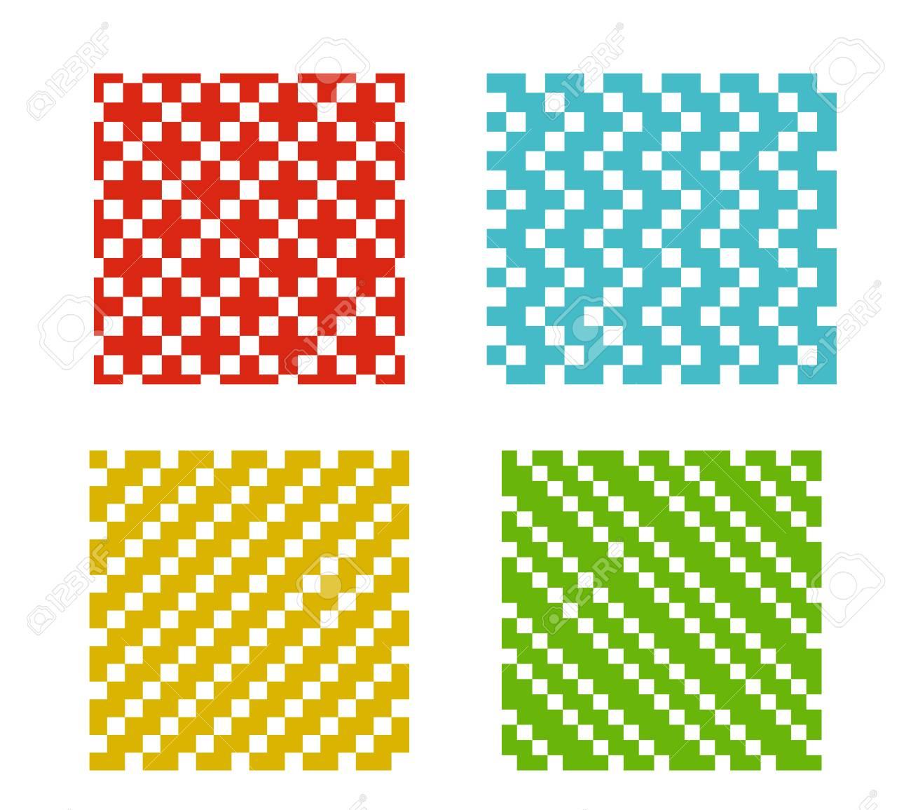Ensemble De Modèle Simple Pixel Sans Soudure Sur Fond Blanc