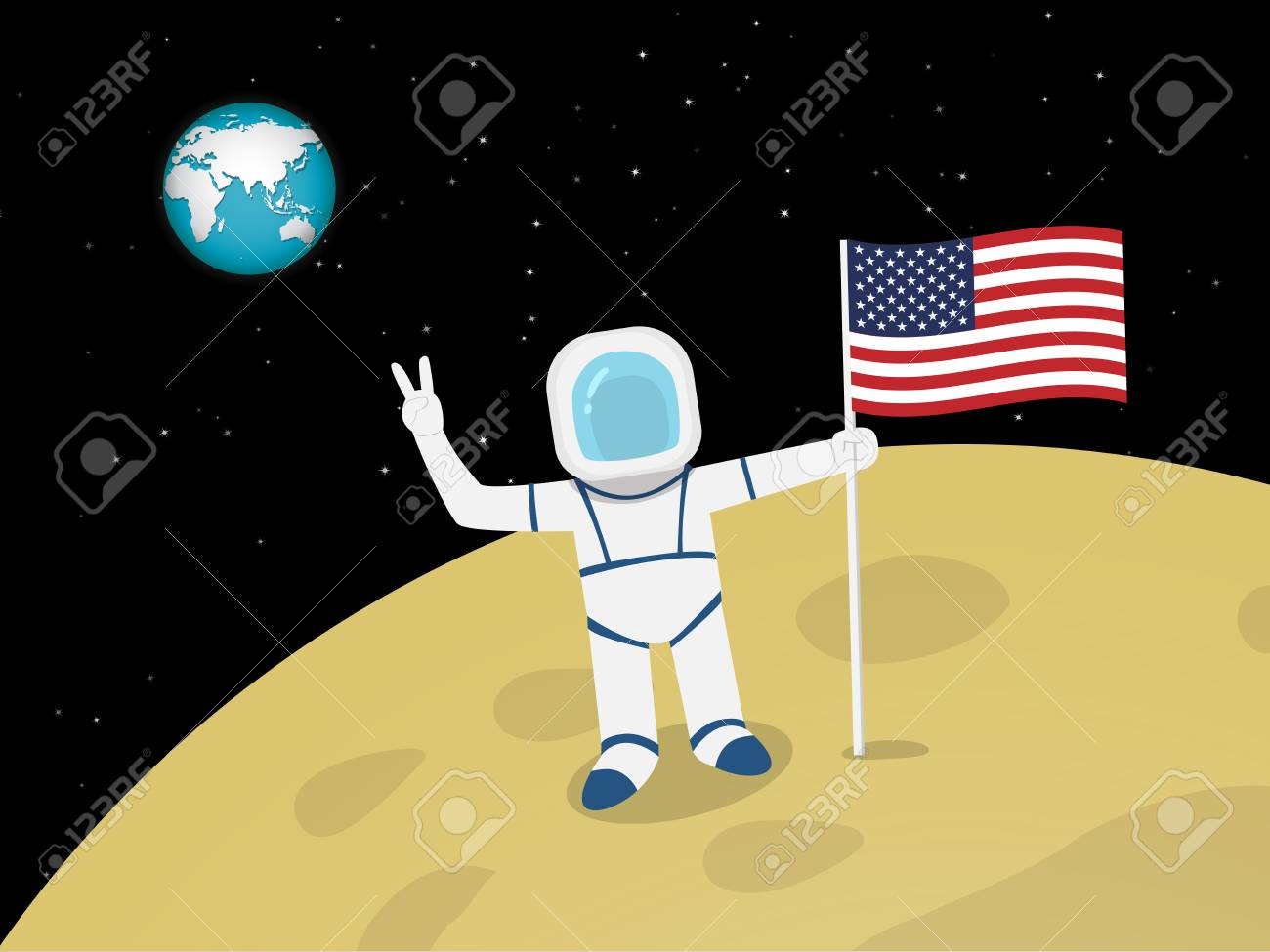 Happy Astronaut on moon surface with US flag, vector design - 92744408
