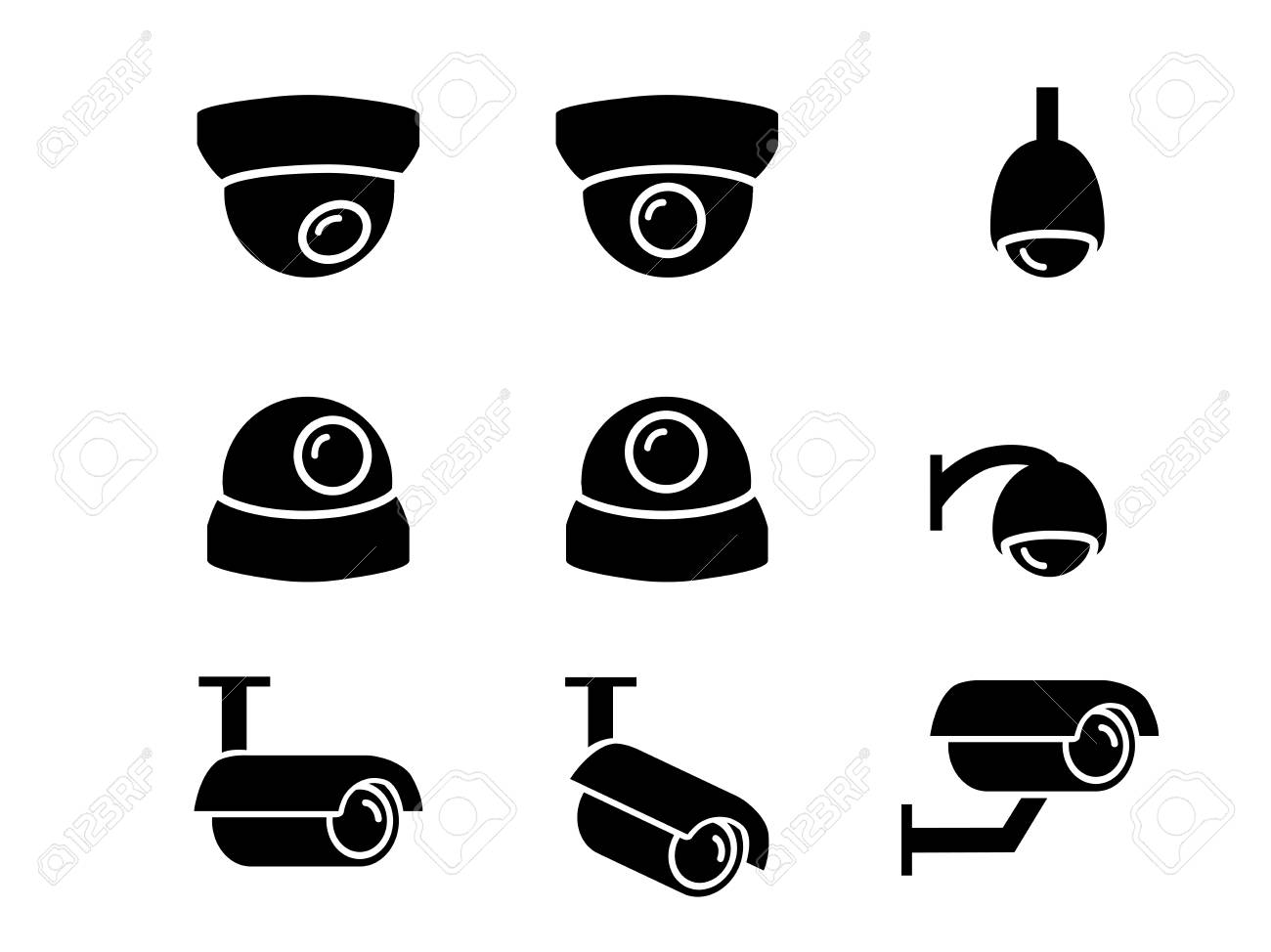 CCTV camera icons and symbol in silhouette vector art - 94777289
