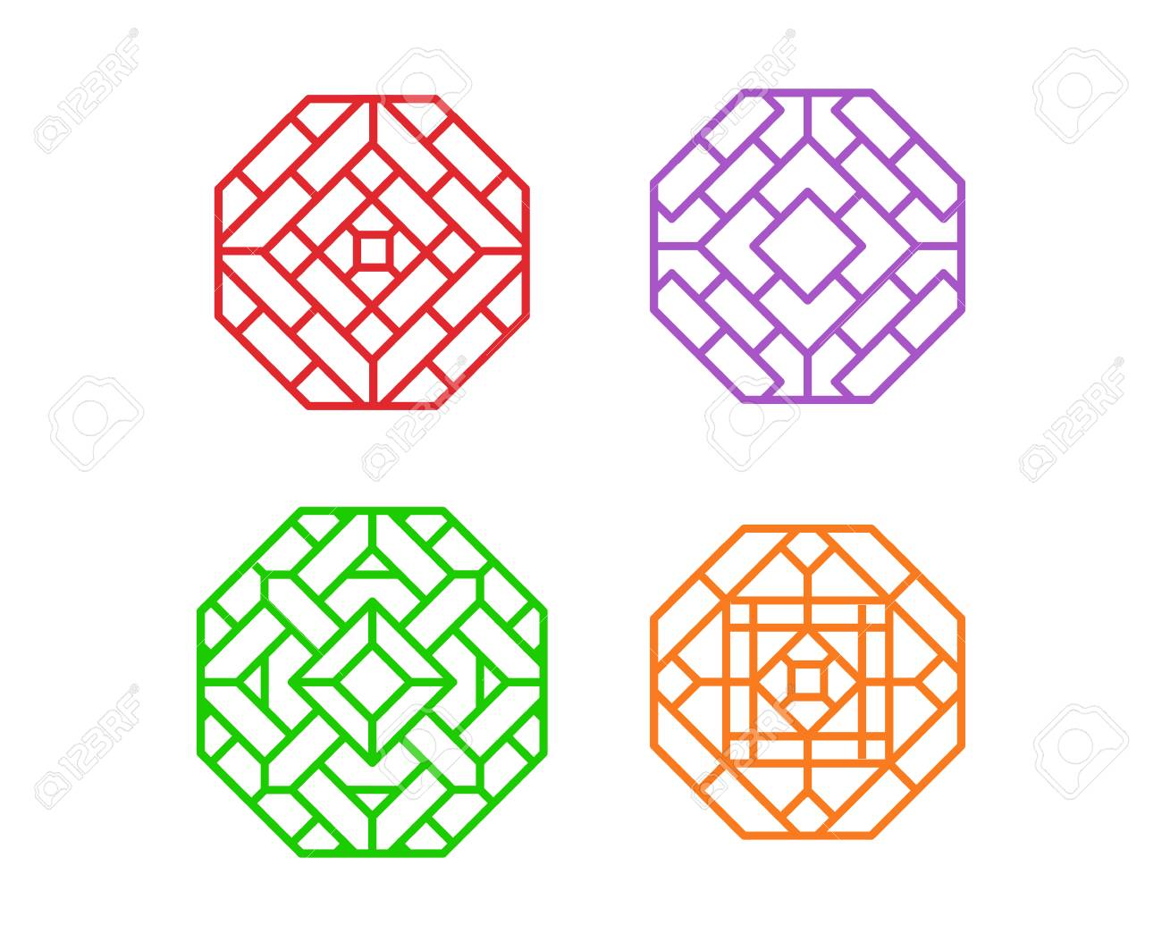 Chinese Octagon Window Frame And Symbol In Vector Design Royalty ...
