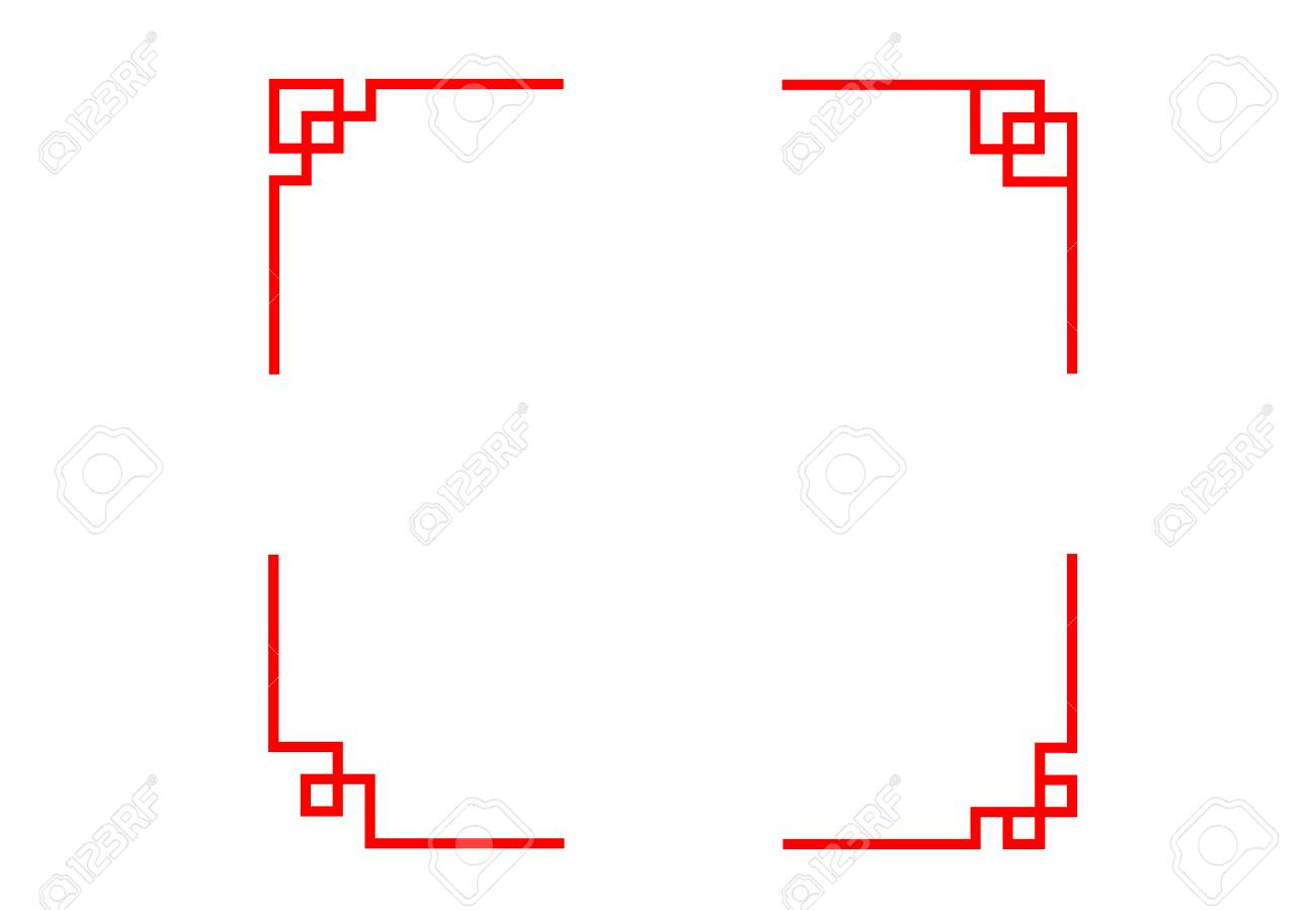 Set Of Chinese Line Corner In Classic Style Vector Art Design