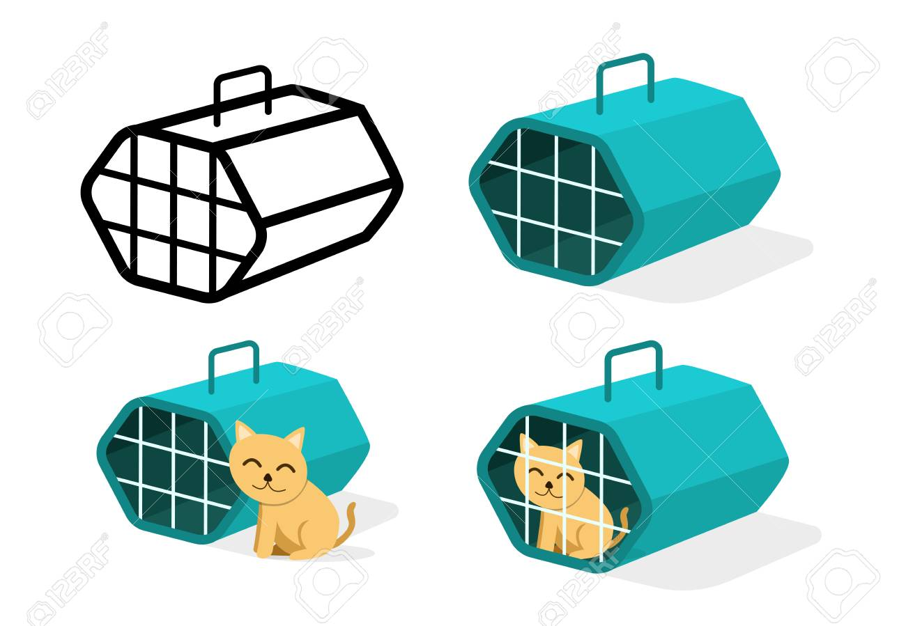 Cat cage icons in flat style, vector art design - 126035208