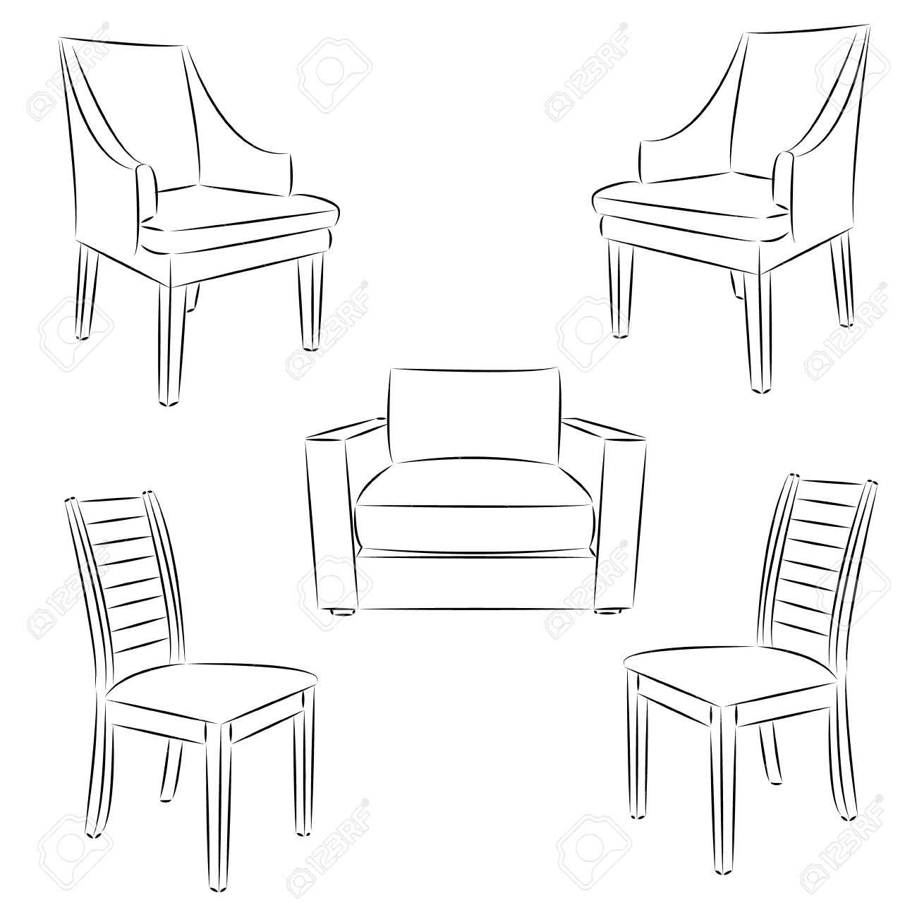 Chair icon  Classic chair outline contour drawing  Vector illustration
