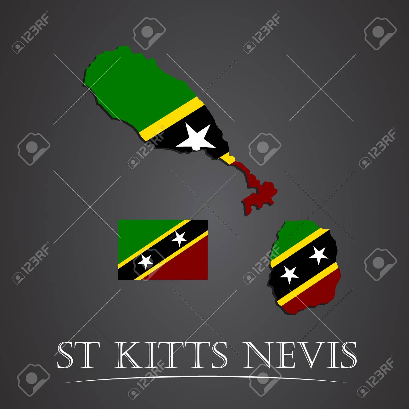 Map Of St Kitts Nevis. Vector Illustration Royalty Free Cliparts ...