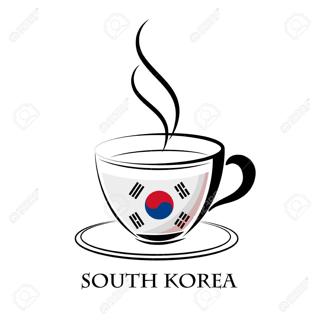 Coffee Logo Made From The Flag Of South Korea Royalty Free Cliparts Vectors And Stock Illustration Image 68806583