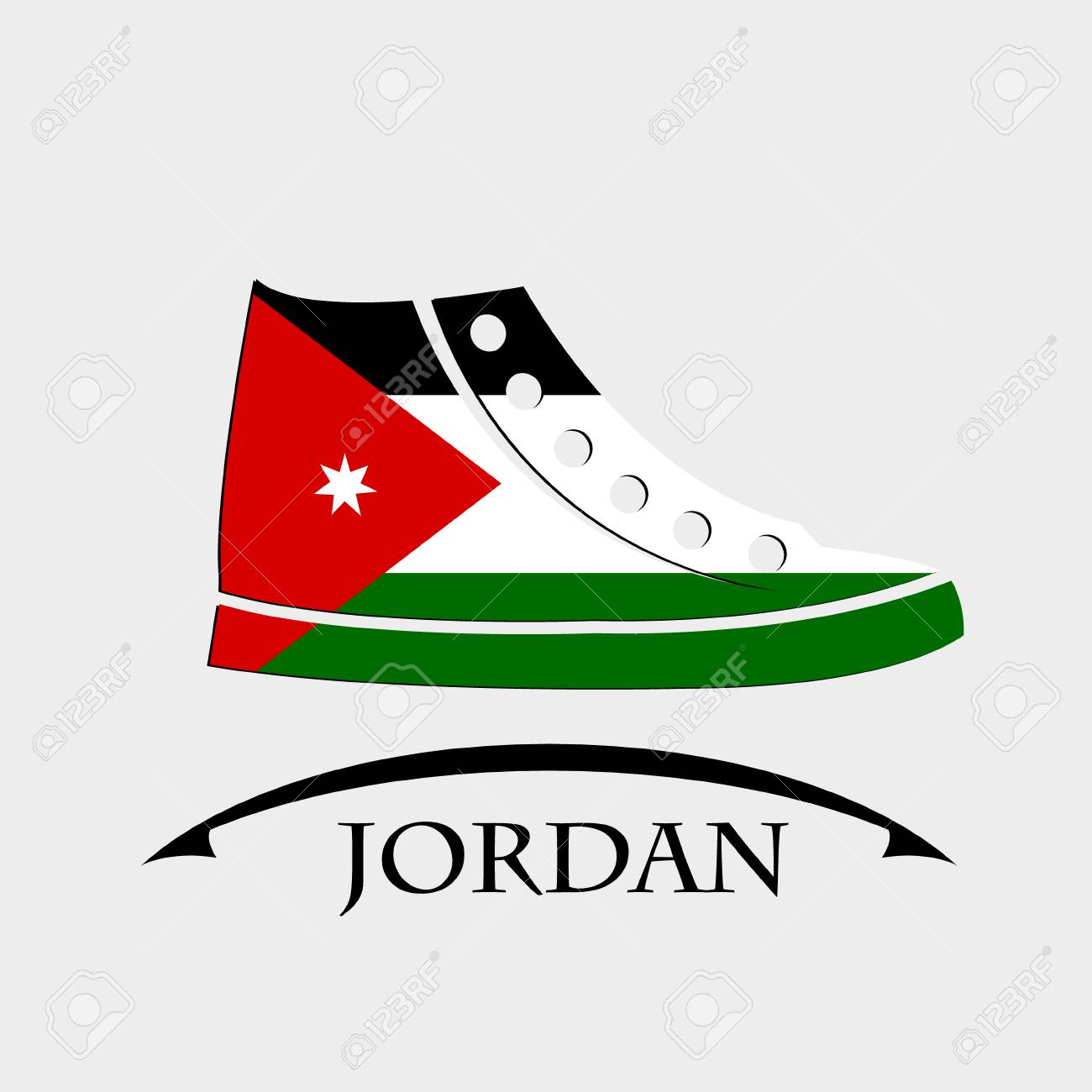 shoes icon made from the flag of Jordan