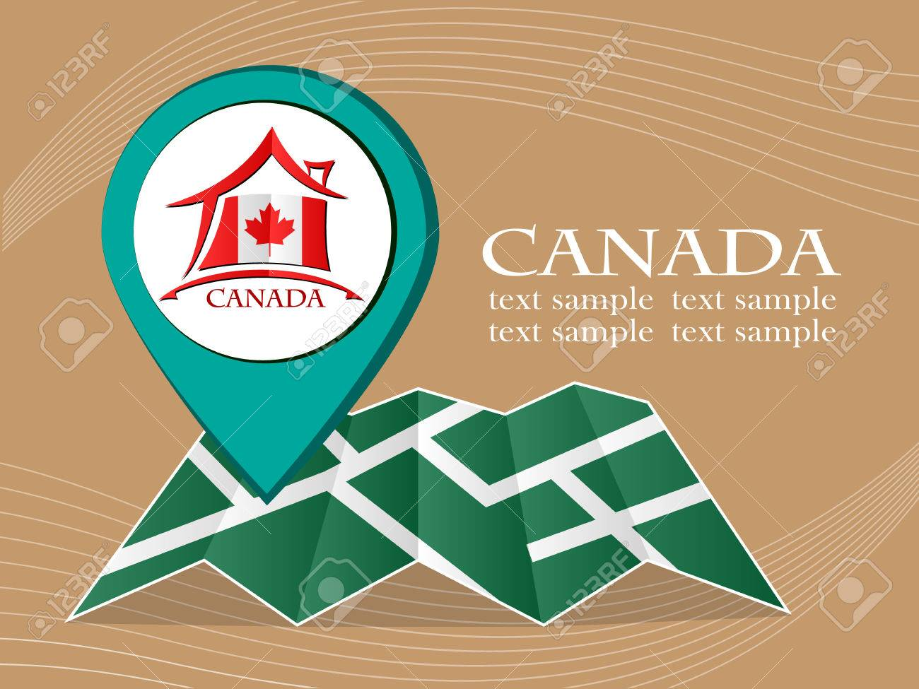 Map Of Canada Eps.Map With Pointer Flag Canada Vector Illustration Eps 10 Royalty