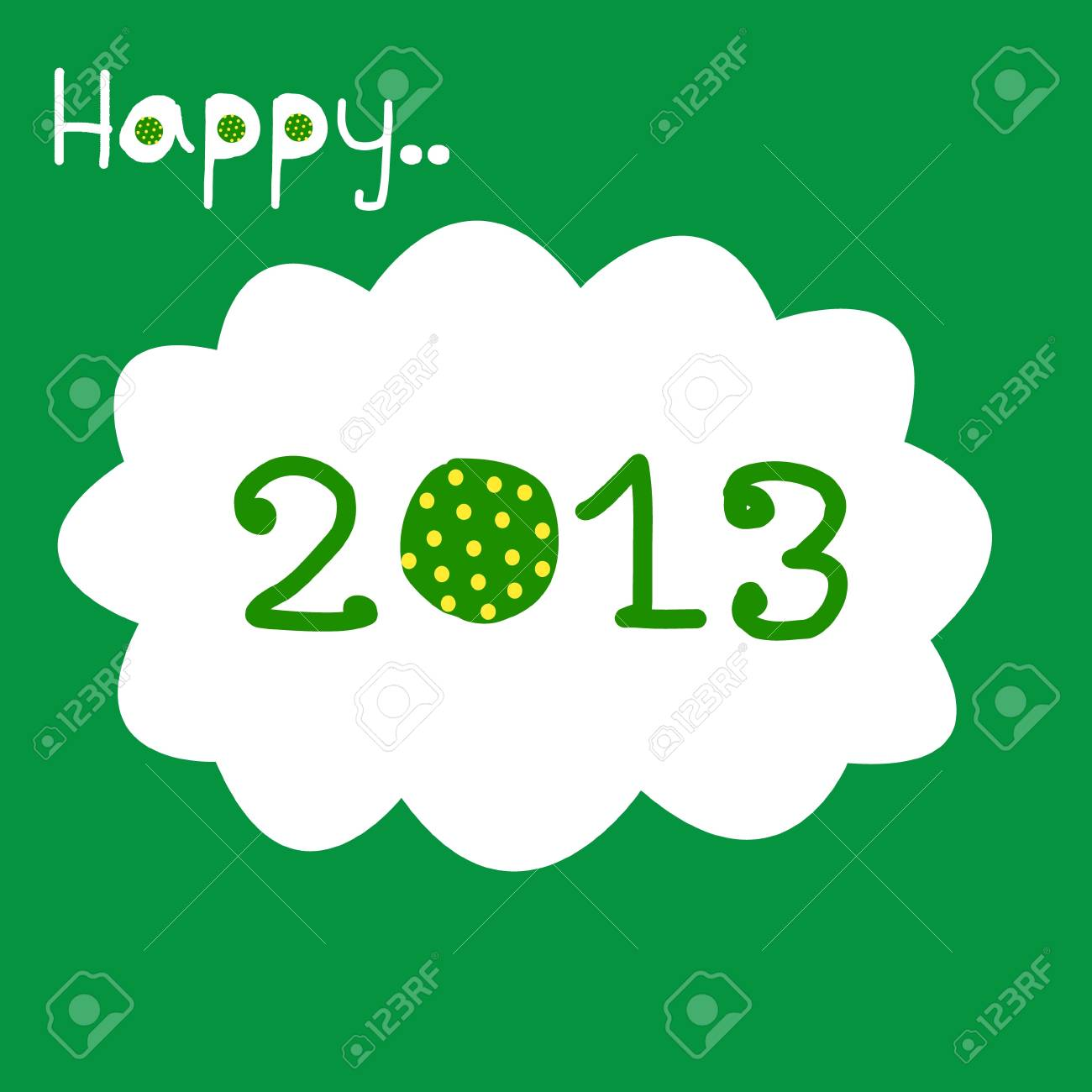 Happy New Year 2013 with polka dot_green Stock Vector - 17010961