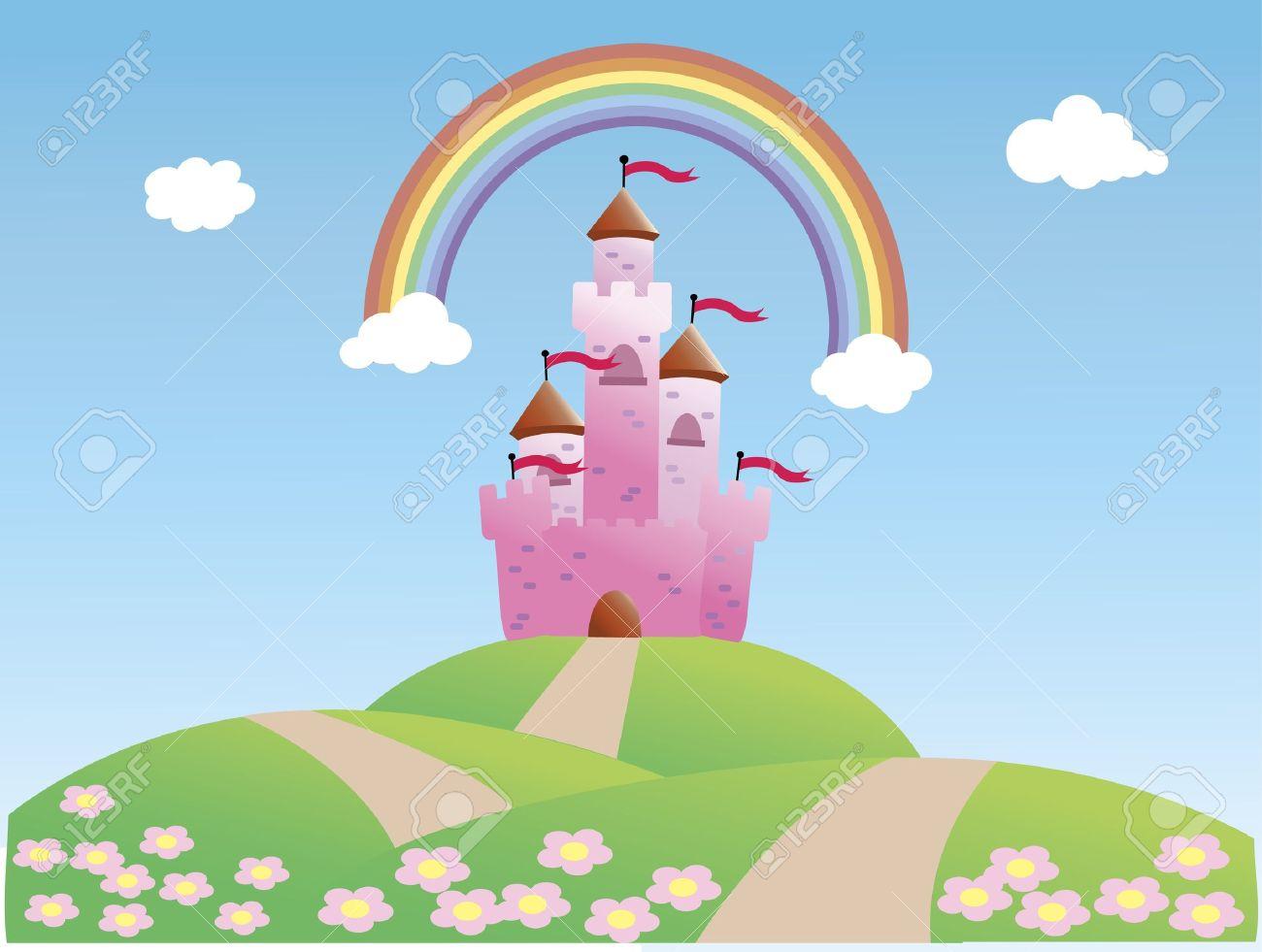 Fairy Tale Castle and Rainbow Stock Vector - 17010959