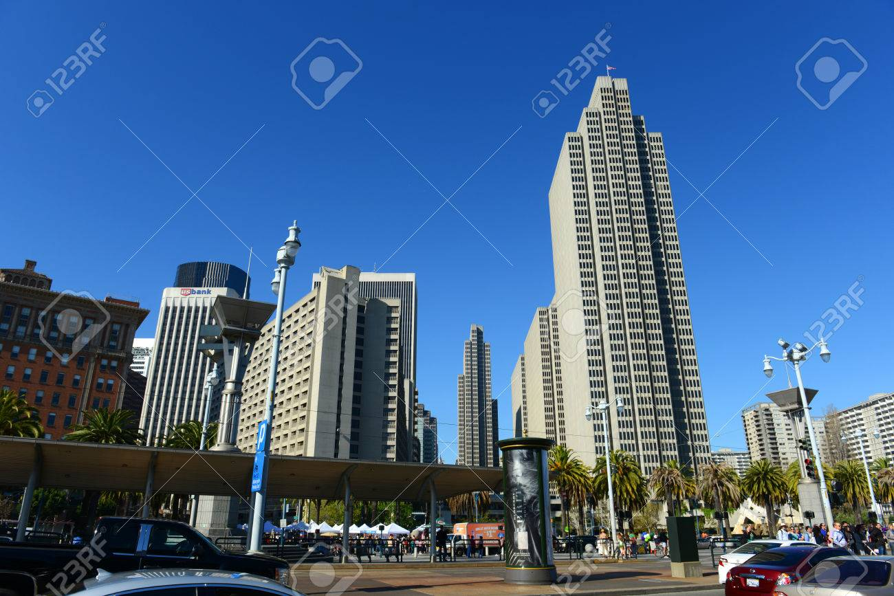 Four Embarcadero Center And Streetcars In The Financial District Of San Francisco California Usa