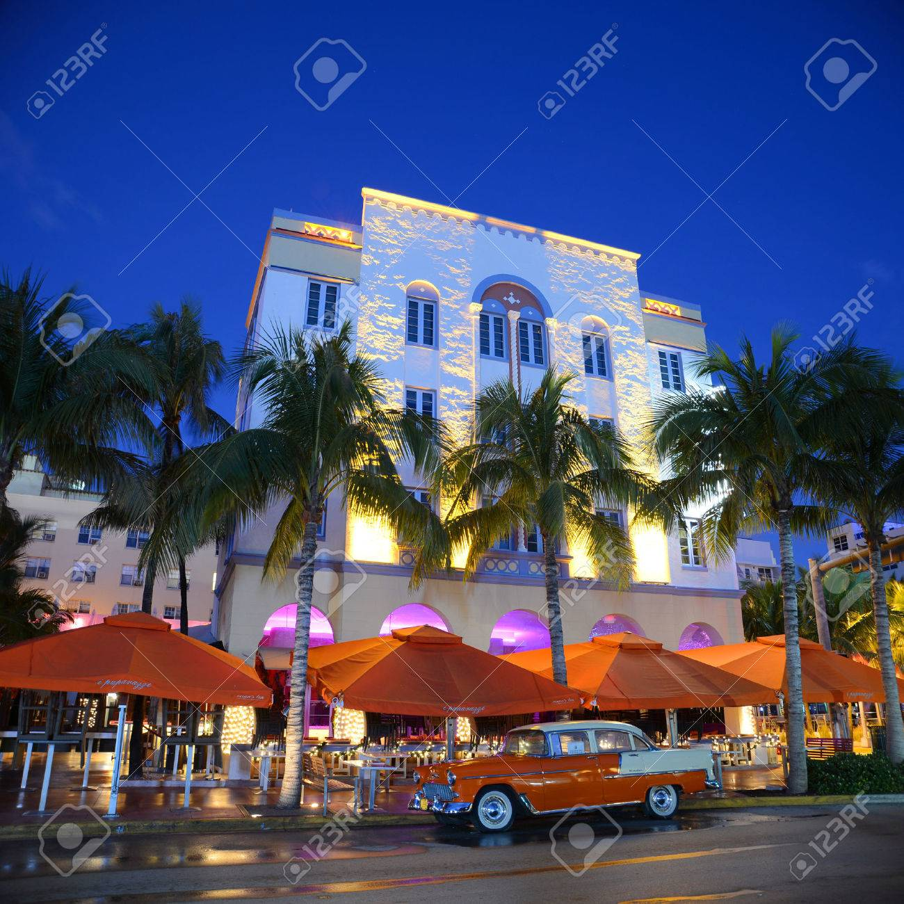 Edison Hotel With Art Deco Style Building And Antique Chevrolet ...