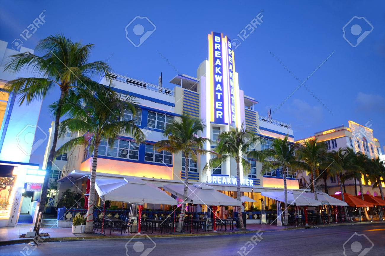 Breakwater Hotel With Art Deco Style Building Night Scene In ...